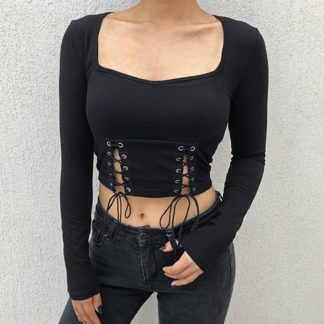 Black T-Shirt with Cropped Bandage for women