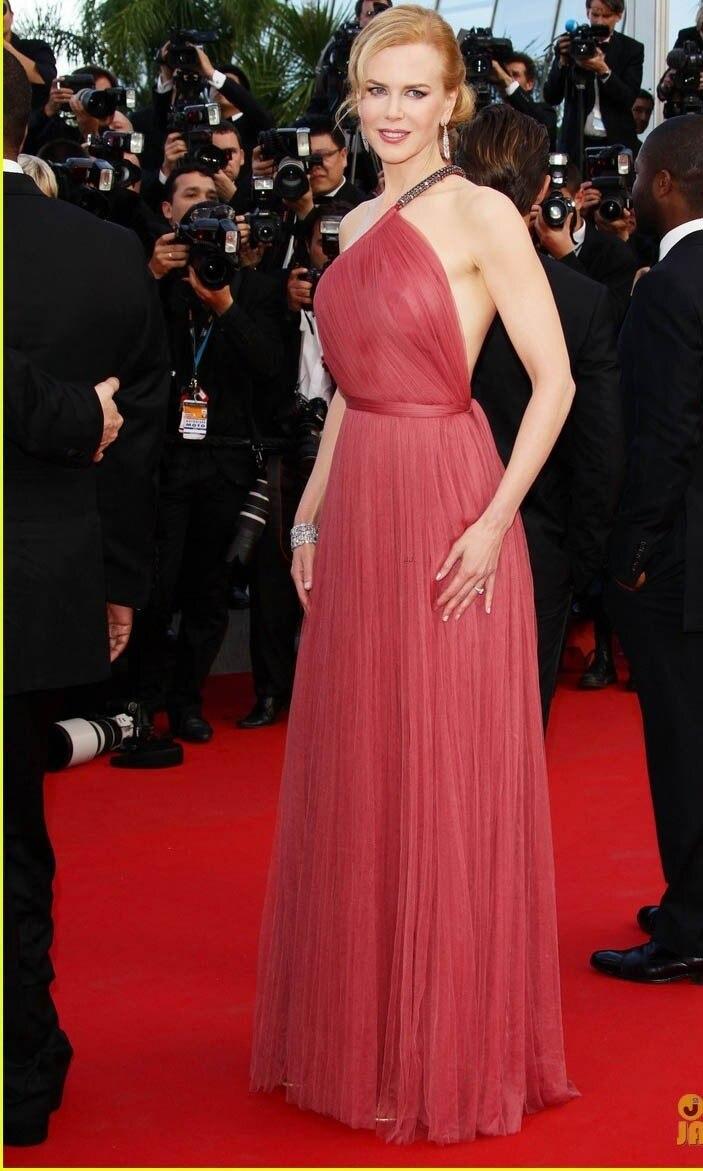 Neue designer oscar bodenlange Nicole Kidman rotes langes kleid ...