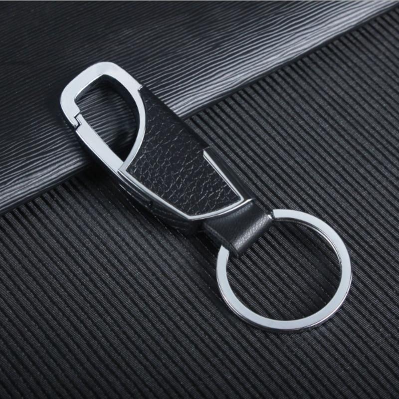 Ford Fusion Key Ring Black Leather Rectangular Keychain