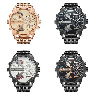 Image 5 - Oulm Two Time Zone Big Dial Japan Quartz Military Watches Men Luxury Brand Steel Wristwatch Male Military Watch Golden Hours