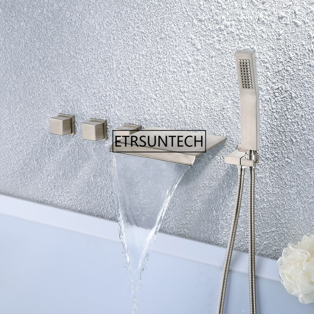 Bathtub Faucet Shower System Mixer With Bathtub Spout Handshower High Pressure Wall Mounted Faucet Set Brass Valve Three Handles