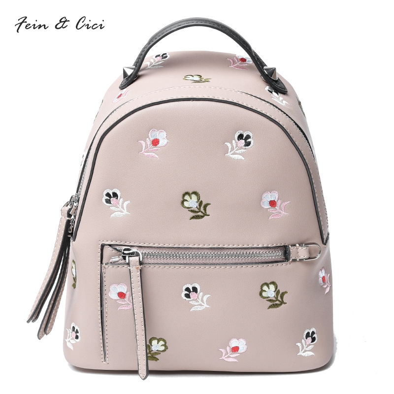 women genuine leather Backpack embroidery bag flower Backpacks 100% cow leather bag 2017 new arriver black pink grey color рюкзак ucon bryce backpack ss17 black grey