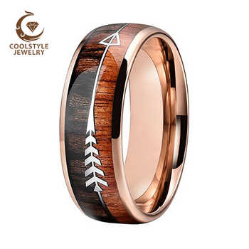 Wedding Rings For Men And Women Rose Gold Tungsten Wedding Band With Arrow And Double Woods Inlay - DISCOUNT ITEM  20 OFF Jewelry & Accessories