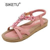 New 2016 Summer Flat Sandals Women Flowers Elastic Band Shoes Open Toe T Strap Fashion Indoor