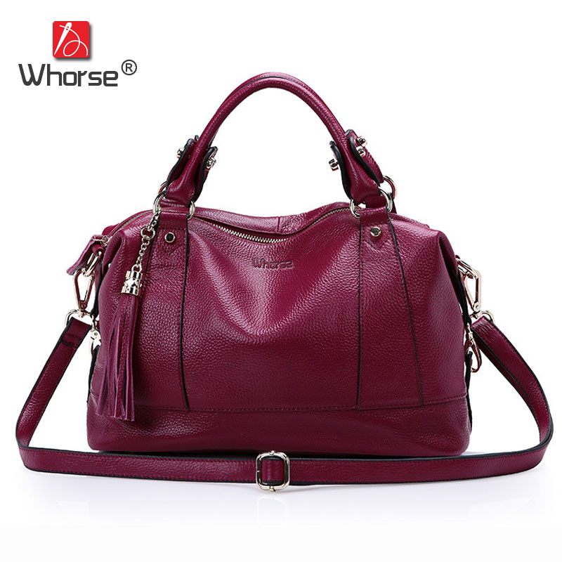 [WHORSE] High Quality Genuine Leather Tassel Handbag Tote Bag Womens Messenger Bags For Women Famous Brand Design W05410