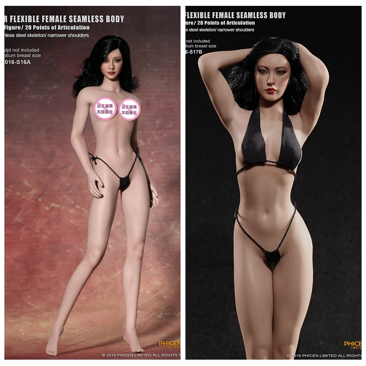 TB League S16A 1:6 Scale Female Body Figure Steel Middle Chest Narrow Shoulder