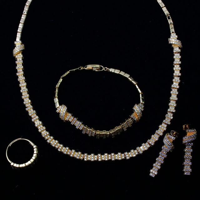 Mujeres Joyería de la boda Establece chapado en oro con Circón Cúbico 4 unids conjuntos (collar + pulsera + pendientes + ring) envío libre