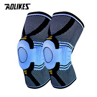 AOLIKES 1 Pair Basketball Running Spring Support Silicon Padded Knee Pads Support Brace Meniscus Patella Protector Sports Safety