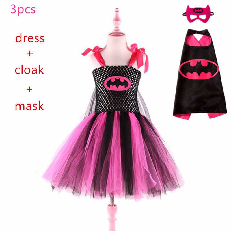 2019 Super Cute Super Hero Tutu Costume 3pcs Hot Pink Batgirl Girls Tutu Dress Carnival for Cosplay Party Halloween costumes set