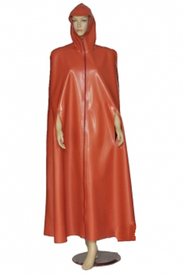 Latex tippet with hood Long and wide latex tippet with vents for the arms and highly closing hood Latex Rubber Coat