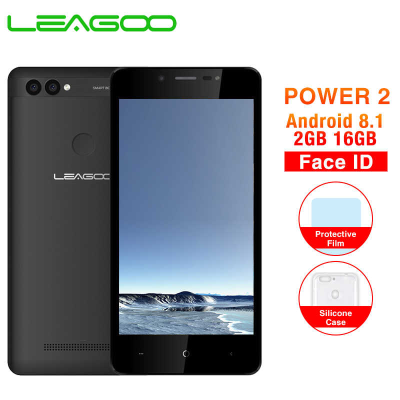 "LEAGOO Power 2 2GB 16GB Mobile Phone Android 8.1 5.0"" HD MTK6580A Quad Core Face ID 3200mAh Dual SIM 8MP Dual Camera Smartphone"