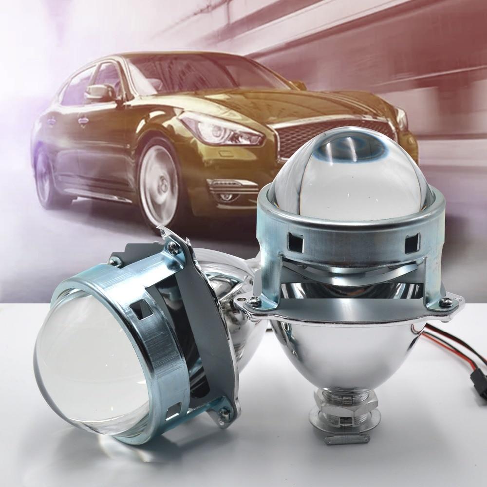 Taitian 2Pcs headlights lens 3.0 Mini Bi-Xenon HID Projector Kit Auto lenses Car Hi/Lo Shroud LHD H1 H3 fog light lens H4 H7
