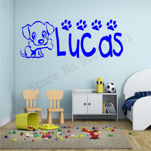 Wall Sticker Personalized Name Dog Cute Kidsroom Decoration Vinyl Art Removeable Sticker Beauty Modern Style Mural Poster LY626 wall sticker cartoon pig kidsroom decoration pig family decor vinyl art removeable poster beauty modern style mural poster ly628
