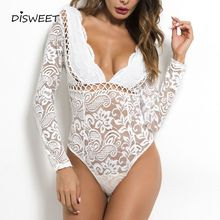 Sexy Style Lace Perspective Playsuits V-neck Backless Slim Summer Solid Color