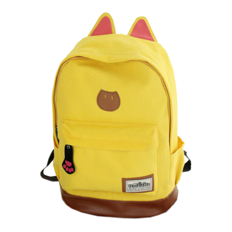 5 pcs of Canvas Backpack For Women Girls Satchel School Bags /Cute Rucksack Backpack children Cat Ear Cartoon Women Bags Yellow