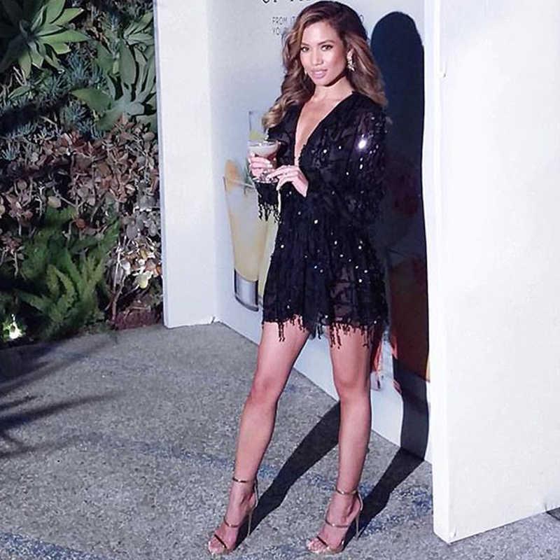 Sexy V Hals Gold Glitter Romper Playsuit Sequin Fashion Party Jumpsuit Wit Korte Womens Party Een Stuk Jumpsuit