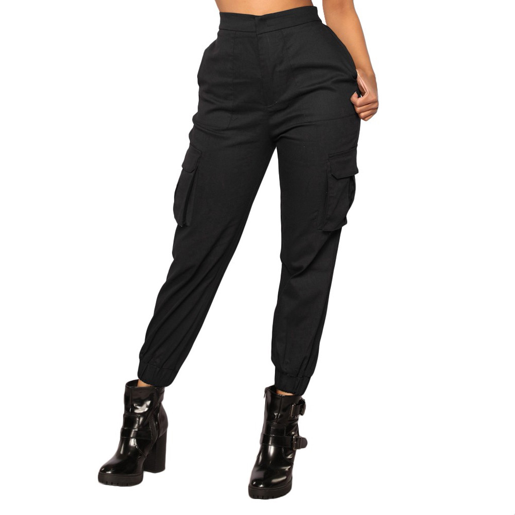 High waist   pants   New loose joggers women army harem camo   pants   streetwear punk black cargo   pants   women   capris   trousers #O