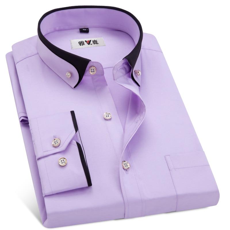 MACROSEA Men's Business Dress Shirts Male Formal Button-Down Collar Shirt Fashion Style Spring&Autumn Men's Casual Shirt 4