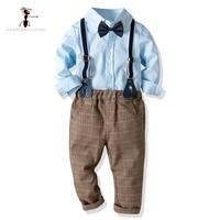 Kung Fu Ant 2019 Spring Antumn Fashion Boys Suit Solid Color Shirt Boys Strap Casual Pants 2pc Gentleman Set 28M Baby Suit