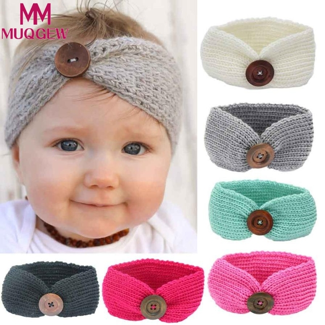 Infant Toddler Knit baby Headband Top Hair Band Baby Headband Turban Head  Wrap With Button Gilrs Headwear Hair Accessories Tiara 02296c57378