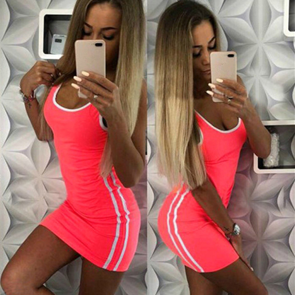 HTB1YDMUQgHqK1RjSZFgq6y7JXXaD Women Casual Sport Dress Patchwork Design Side Stripe Decor O-Neck Slim Mini Sportswear Tennis Mini Dress