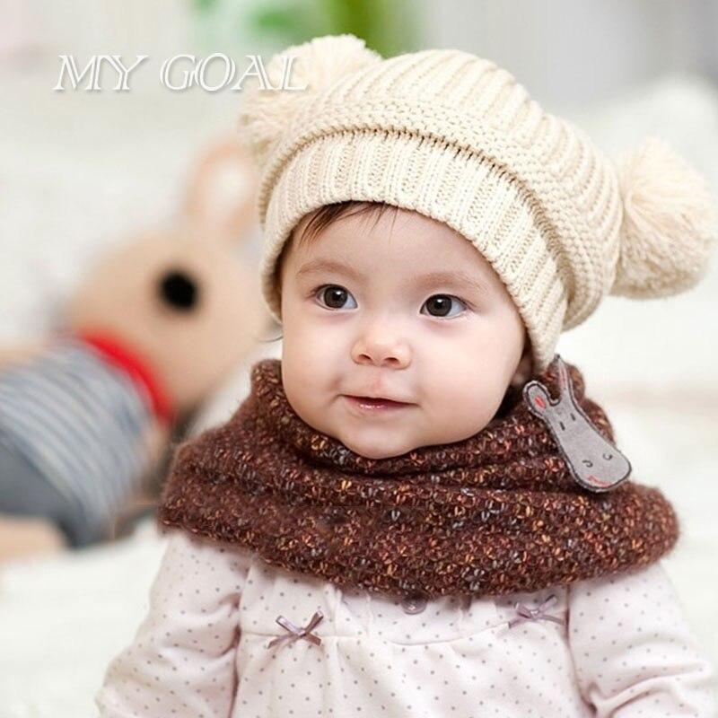 c59cfcb16 Dual Ball Knitted Baby Caps Boys Girls Toddler Crochet Beanie ...