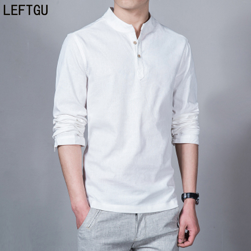 2018 Fashion Long sleeve Men's shirts male casual Linen shirt men Brand Plus size Asian size camisas DX366