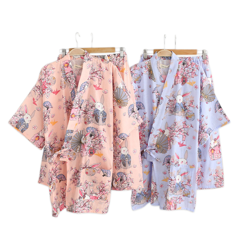 Summer Japanese kimono robes women short sleeves 100% cotton shorts   pajamas     sets   sakura rabbit pyjama simple Robes   set   for women