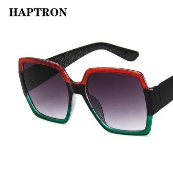HAPTRON Oversized Square Sunglasses Women Brand Fashion Tricolor Sun Glasses Retro Green Red Black street style oculos de sol 1