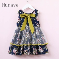 Hurave 2017 Tutu Girls Dress Kids Clothes With Bow Printed Dress Sleeveless Floral Girl Mesh Summer
