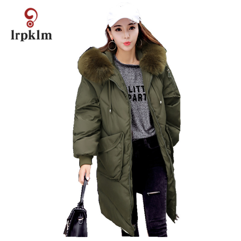 2017 New Female Big Fur Collar Hooded Long Winter Parkas Thick Women Cotton Padded Coat Fashion Warm Casul Outerwear  PQ016 akslxdmmd parkas winter women jacket 2017 new fashion rabbit fur collar hooded thick padded cotton mid long coat female lh1073