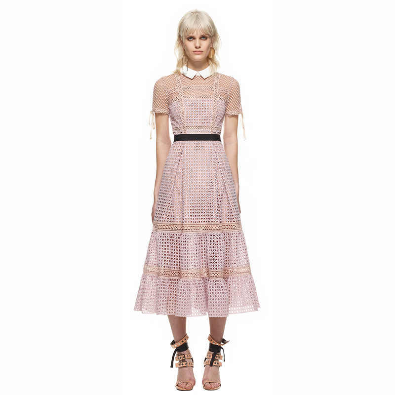 a693bf52a2 Self Portrait Dress Women Summer 2018 Sexy Elegant Turn-down Collar Short  Sleeve Hollow Out