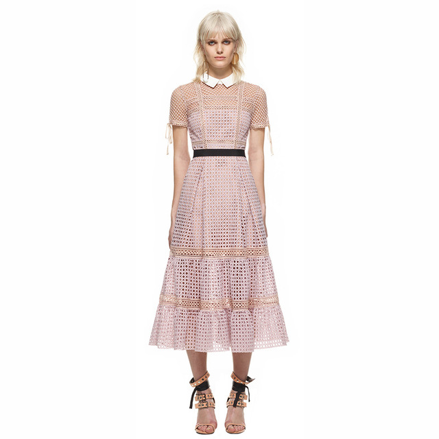 1b546f1e5618 Self Portrait Dress Women Summer 2018 Sexy Elegant Turn down Collar Short  Sleeve Hollow Out Pink Lace Dress A line Maxi Dress -in Dresses from  Women's ...
