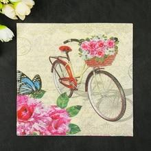 20 servilletas, pañuelo de papel vintage, pañuelo estampado de flores para bicicleta, decoupage en tela, decoración del banquete de boda, servilleta de cena