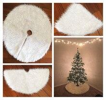 2017 Christmas Tree Skirt White Fur Carpet Extra Large Round Plush Santa Tree Xmas Aprons Navidad for Home Party Decorations 1pc