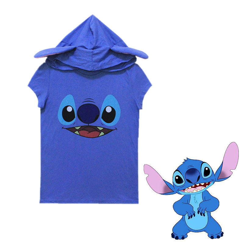 WXCTEAM Lilo & Stitch Hooded T-shirt Short-sleeved Blue Stitch Adult Girl Woman Summer Casual Top Tee
