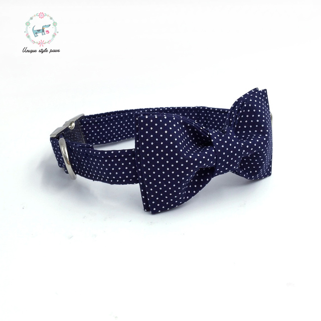 Blue Polka-Dot collar and leash set with bow tie. 3