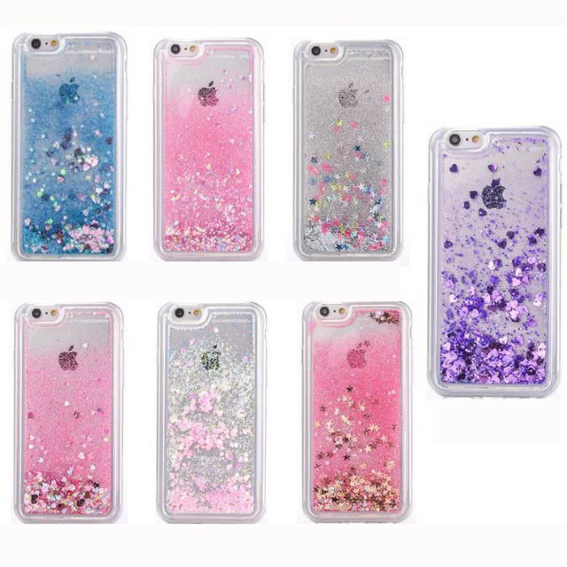 competitive price c0601 4aa64 US $3.54 11% OFF|For iPhone 6 6s Plus/5S 5SE Phone Case Liquid Glitter  Quicksand Star Heart Case For iphone 6S Clear Crystal Soft Case Cover-in  Fitted ...