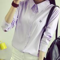 2017 Outono das Mulheres Turn Down Collar Camisas Elegantes Blusas de Chiffon Tops Ladies Escritório Formal Wear Trabalho Feminino Desgaste Sólida camisas