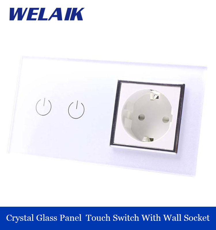 WELAIK 2 frame Crystal Glass Panel  White Black Wall Switch EU Touch Switch Screen Wall socket 2gang1way AC110~250V A29218EW/B welaik crystal glass panel switch white wall switch eu remote control touch switch light switch 1gang2way ac110 250v a1914xw b