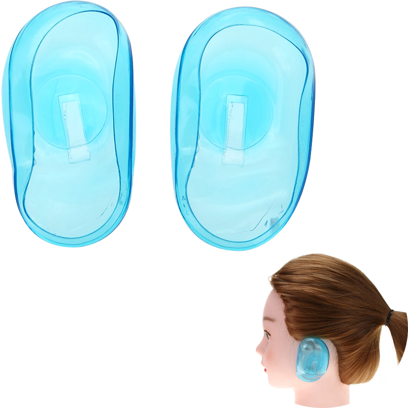 1pair/set Pro Salon Clear Silicone Ear Cover Ear Protection Hair Dye Shield Protect Color Styling Tool Accessories Light Green