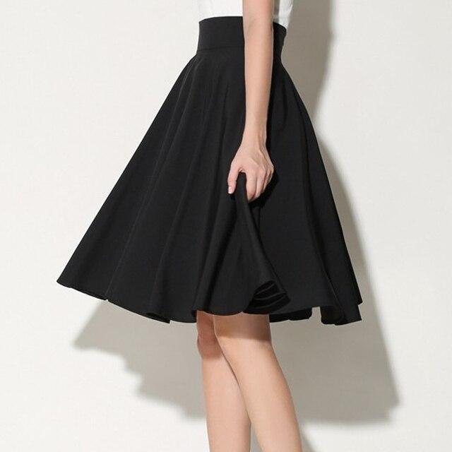 4e8442c73751 Noir Blanc Midi Jupes Femmes D été Taille Haute Jupe Plissée Patineuse  Vintage Saia Feminina