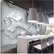 Custom 3D stereo brick wall lily flower wallpaper mural for living room dining room TV backdrop 3D wallpaper vinyl wallpaper