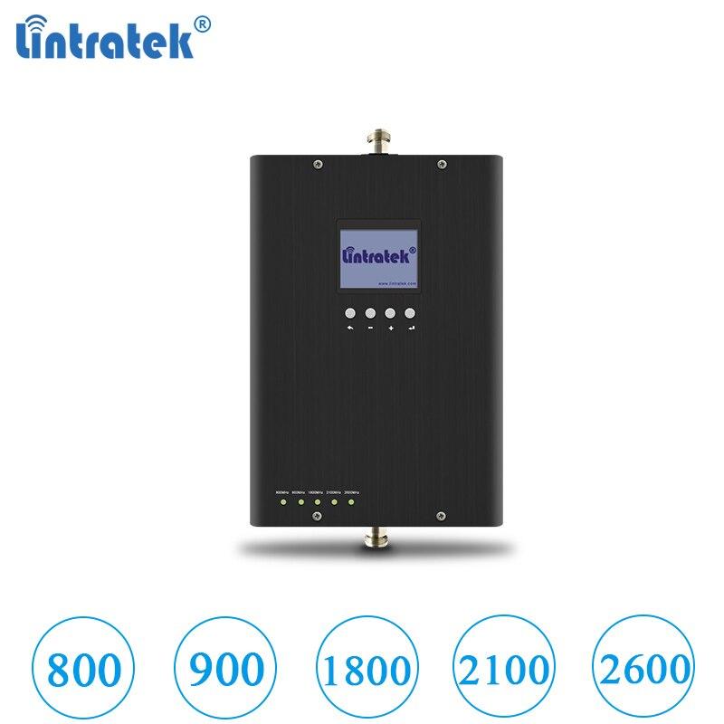 Lintratek nouveau gsm umts lte signal booster 800 900 1800 2100 2600 Mhz répéteur 2g 3g 4g cinq bandes AGC LCD affichage pas d'antenne #6.9