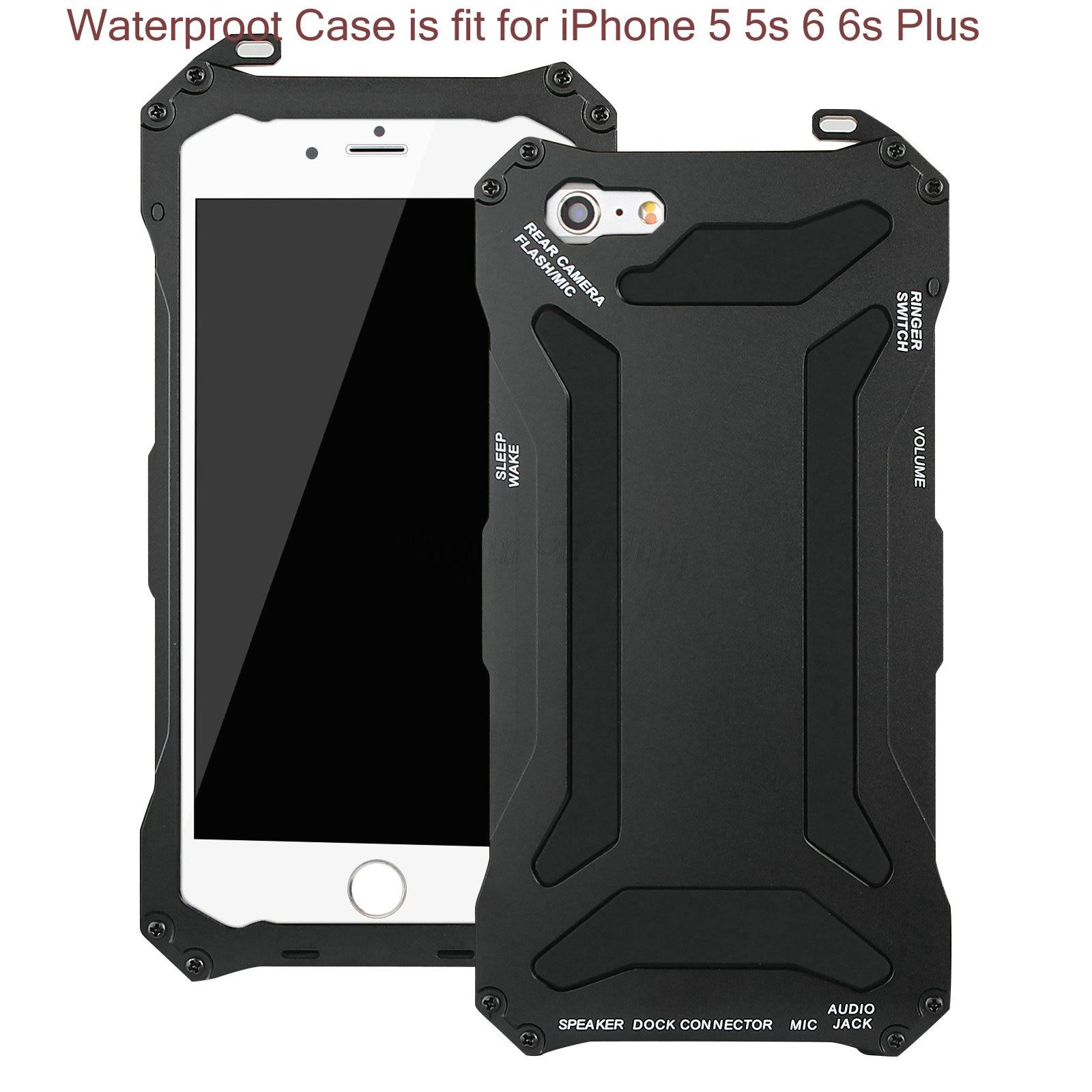 imágenes para A prueba de agua Caja Del Teléfono Móvil Para el iphone 6 s 6 5S 5 6 s más Poderoso Protector A Prueba de Choques de Aluminio de Gorilla Glass Cubierta de Metal