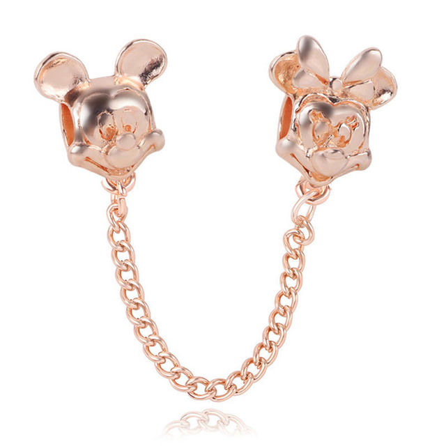 New Fashion Silver Rose Gold Mickey Minnie Butterfly safety chain Charms Fit Original Pandora Bead Bracelet For Women Charm