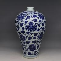 Antique YuanDynasty porcelain bottle,blue& white wrapped peony Vase,Hand painted crafts,Decoration,Collection&Adornment