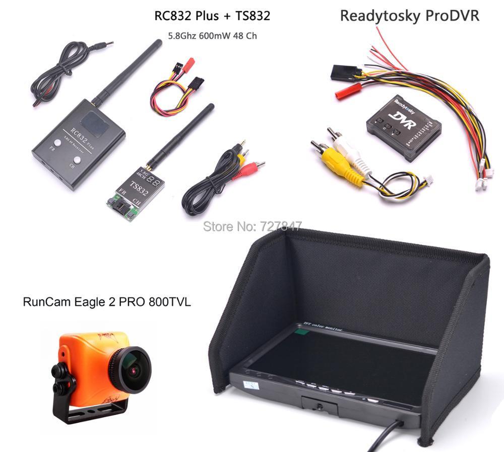 Runcam Eagle 2 PRO 800TVL Camera TS832 RC832 Plus 7 inch LCD 1024 x 600 Monitor ProDVR Pro DVR Mini Video Audio Recorder for FPV