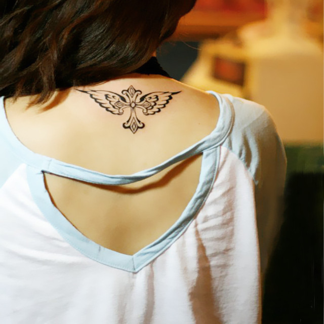 Temporary tattoos neck back body makeup cross wings fake for Fake neck tattoo