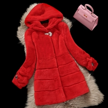 2017 New Fashion Women Winter Real Rex Rabbit Fur Coat Jackets With Hood medium-long full leather fur coat winter overcoat